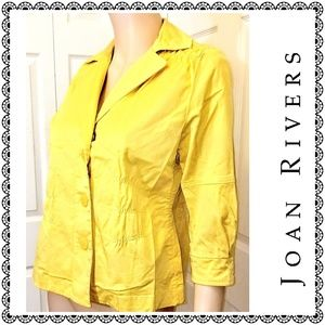 {Joan Rivers} yellow cotton jacket, stretchy, sz S